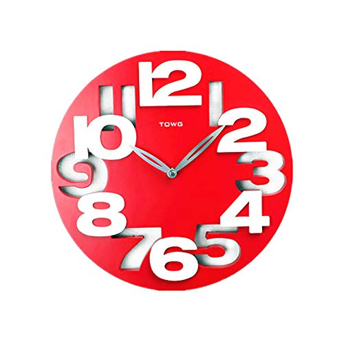 aaaas 3D Fashion Wall Clock Modern Simple Clock Living Room Nordic Bedroom Sweep-Second Silence 12 inches@red (Fm-sweep-radio)