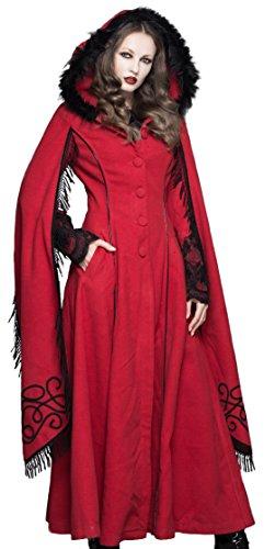 Damen langer Mantel mit Kapuze Devil Fashion Lolita Gothic Mittelalter Larp Rot (XS)