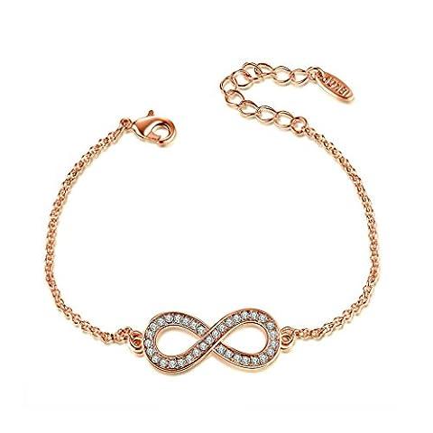 Epinki Vergoldet Damen Poliert Charm Armband mit Cubic Zirkonia Figure 8 Rose Gold 25.5CM