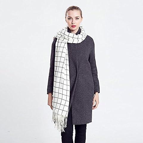 Donna autunno e inverno caldo semplicità bianco e nero acrilico sciarpa scialle