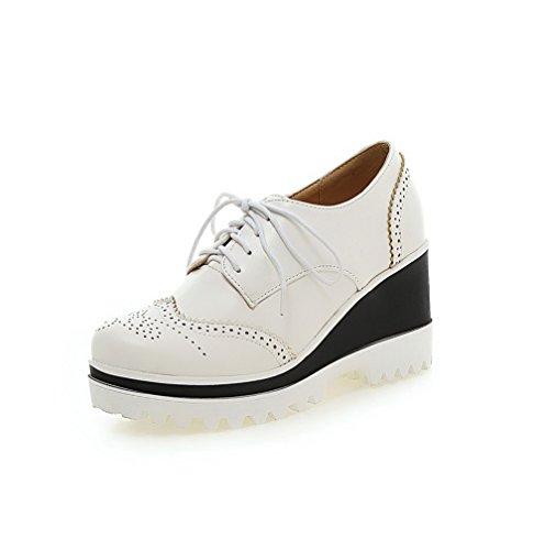 AgooLar Femme Rond à Talon Haut Couleur Unie Lacet Chaussures Légeres Blanc