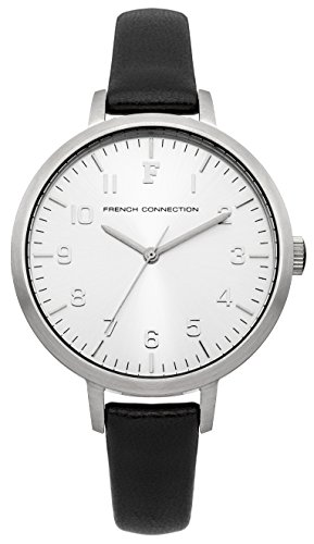 French Connection FC1248B - Reloj para mujeres, correa de cuero color negro