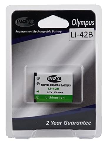 Inov8 Olympus LI-42B Replacement Lithium Digital Camera Battery 600mAh 3.7v Li-ion 2 year warranty