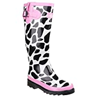 Cotswold New Ladies/Womens Black/White Moo Cow Print Wellingtons - Black/White/Pink - UK Sizes 3-8
