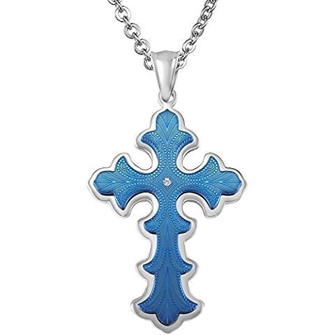Uomo Ciondolo in acciaio inossidabile CZ Croce cristiana Fiore disegno figura con la catena a caso di AieniD
