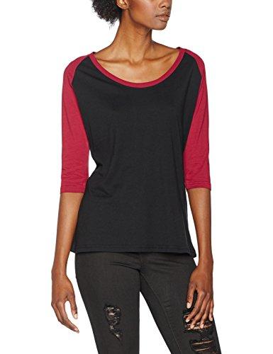 Urban Classics Damen T-Shirt Ladies 3/4 Contrast Raglan Tee, Mehrfarbig (Blk/Burgundy 651), X-Small (Tee Raglan Contrast)