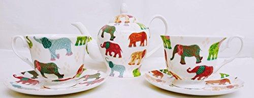 Elefanten Tee Set für Zwei Fine Bone China Hand-dekoriert in Großbritannien gepatchte-Elefanten Tee Set 1Teekanne 2Tassen & 2Untertasse) Dunkelviolett China Tee-set Für Zwei