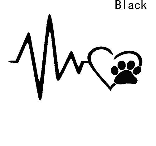 Carstyling niedlichen Hund Pfote mit Pfirsich Herz und Herzschlag Auto Aufkleber Cartoon Tier adoptieren Hund Katze Liebe Haustier Auto Aufkleber/3PCS (Haustier Katze Ihr Halloween Zu)
