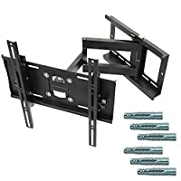 RICOO Strong TV Wall Bracket Mount Tilt Swivel R23-F for approx 32-65 Inch Screens & Genuine Fischer-UX10 Plugs | Mounting Holder Arm also for Curved Television Universal for max. VESA 400x400 Black