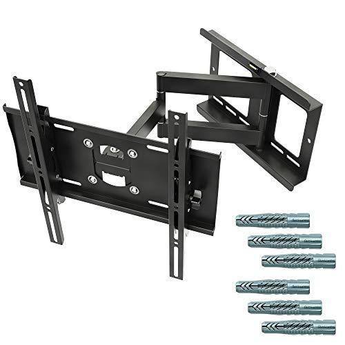 RICOO R23-F, TV-Wandhalterung Schwenkbar, Neigbare Fernseher-Halterung, Universal 32-65 Zoll (81-165 cm) Fischer-Dübel, Curved, VESA 400x400, Schwarz