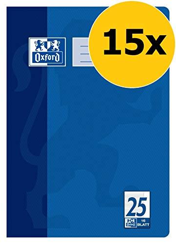 OXFORD 100050311 Schulheft Schule 15er Pack A4 16 Blatt Lineatur 25 - liniert mit Rand blau -