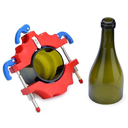 Glasflaschenschneider Set Flasche Fräser - FIXM Metall Schneidwerkzeug + 4Pcs Sandpapier + 2Pcs Trennbänder - mit Hartmetall Schneidrad, Bottle Cutter Flaschenschneider Glasflaschenschneider, für DIY Wiederverwendung Recycling Weinflasche Gläser Schaffung von Glasmalerei, Trommeln, Vasen, Flaschenpflanzer, Flaschenleuchten Kerzenständer (Rot)