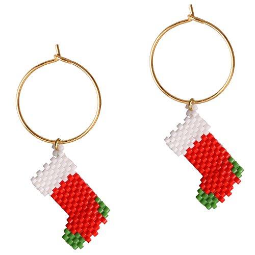 KELLITCH Handmade Ohrring Weiß Rot Weihnachten Socken Rocailles Perlen Geflochten Ohrschmuck - C (Perle-mädchen-socken)
