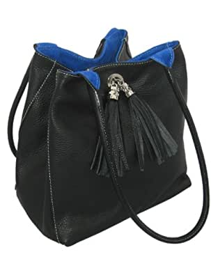 Genuine Small Italian Leather And Soft Suede Handmade Reversible Shoulder Bag 23cm x 23cm x 12cm By Giglio. Made In Italy (Black and Blue)