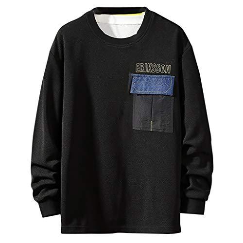 PAOLIAN Herren Pullover O-Ausschnitt Große Größe Lässige Denim Patchwork Draussen Sport T-Shirt Langarm Lose Sweatshirt Tops Bluse M/L/XL/2XL/3XL/4XL - Denim-guide