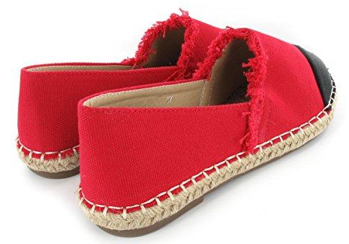 Pour femmes décontracté Vacances d'été Plat tissé Slip on Espadrilles Chaussures Taille Rouge/toile