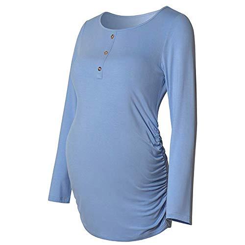 Beikoard Umstandskleidung,Damen Grundlegendes Spitzen-T-Shirt für Schwangere Kleidung Mutterschaft Button Shirt Casual Umstandsmode