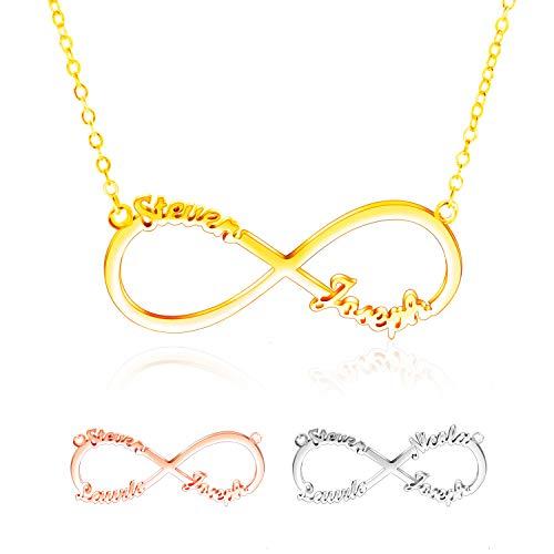 sonalisiert-Unendlich Namenskette mit Gravur -Halskette Silber 925-2,3,4 Namenskette Damen Herren - Personalisiertes Geschenk ()