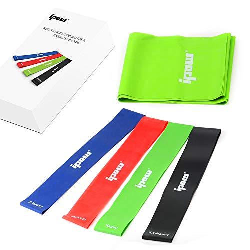 ipow® Fitnessbänder Set 4-Stärken und Stretchband 150cm - Widerstandbänder Resistance Band Loop Übungsbänder Unisex für Pilates Yoga Gymnastik Crossfit