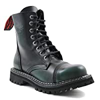 Angry Itch Combat Boots Dark Green Leather Unisex Ladies Men