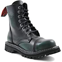 Angry Itch - 8-Loch Gothic Punk Army Ranger Armee Dark Green Rub-Off Leder Stiefel mit Stahlkappe 36-48 - Made in EU!