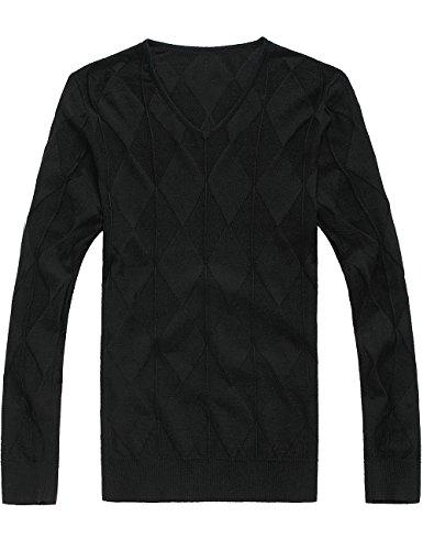 SSLR Herren Dünn Wolle Pullover Schwarz