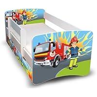 Best For Kids Kinderbett 90x160 mit Rausfallschutz + Schublade 44 Designs (Feuerwehr)