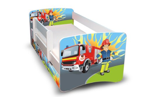 *Best For Kids Kinderbett 90×160 mit Rausfallschutz + Schublade 44 Designs (Feuerwehr)*