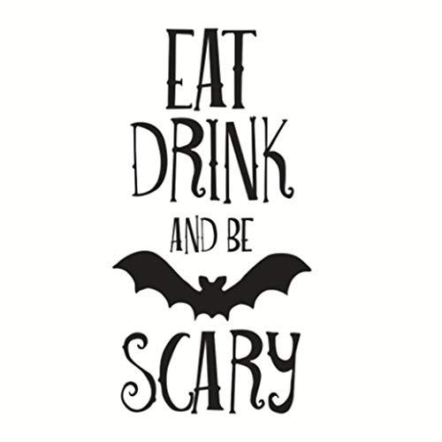 Topker Bat Engligh Letters Eat Drink or Scary Halloween Wandaufkleber Aufkleber entfernbare PVC-Paste Wasserdichte Wand-Dekor