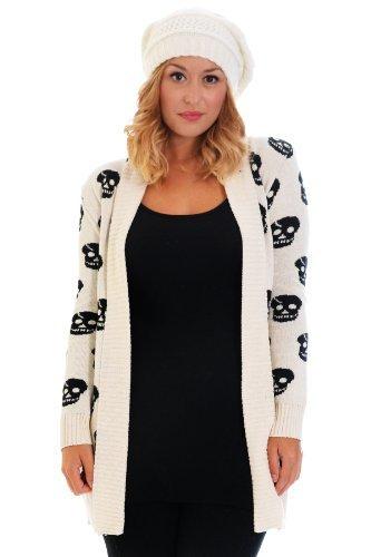 Nouvelle plus totenkopfdruck femme en maille taille unique Blanc - Sahne