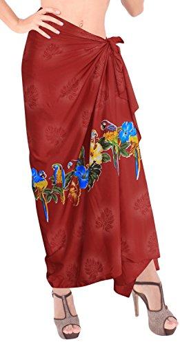 LA LEELA Damen hawaiianische Blumenfrauen Bademode Badeanzug Bikini Rock Vertuschungsarong Kleid rot