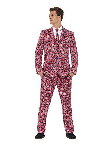 Smiffys, Herren Union Jack Anzug Kostüm, Jackett, Hose und Krawatte, Größe: L, ()