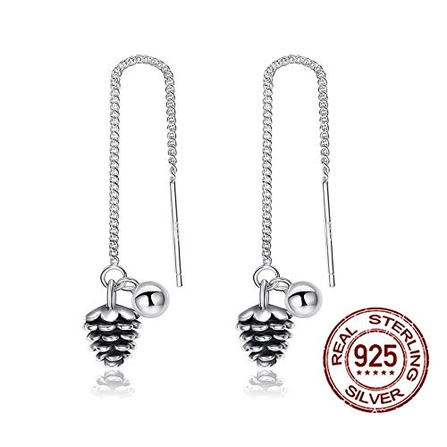 aef7cd7e262c 8Eninise S925 Sterling Silver Long Stud Earrings with Pinecone Shape  Pendant For Women Silver