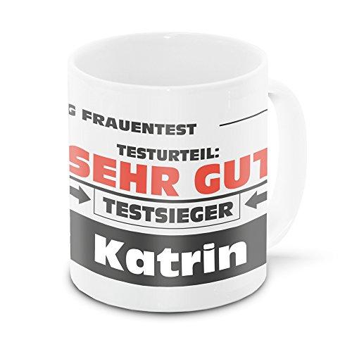 Namens-Tasse Katrin mit Motiv Stiftung Frauentest, weiss | Freundschafts-Tasse – Namens-Tasse