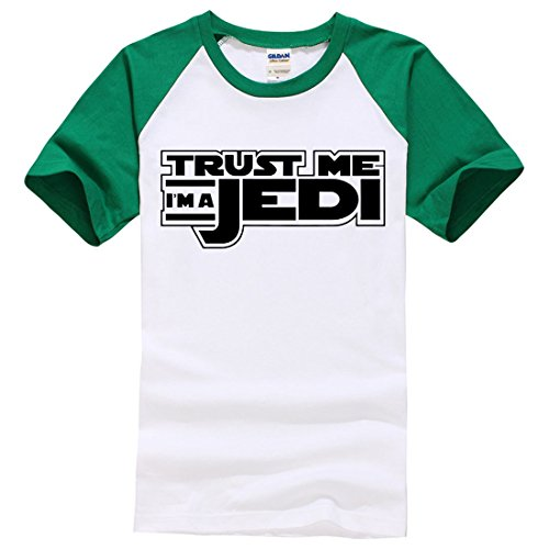 Men's Trust Me I'm a Jedi Knight Letters Printed Cotton Tee Shirt Green White