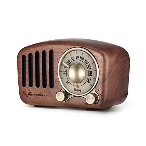 Radio portátil Vintage, Altavoz Bluetooth Retro, Radio FM de Nogal de Madera...