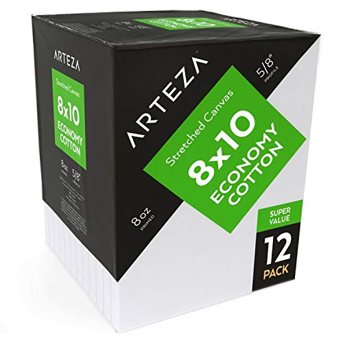 ARTEZA Lienzo para pintar cuadros | 20,32 x 25,4 cm | Pack de 12 | 100% algodón | Lienzos en blanco para óleo, acrílicos y acuarelas | Ideales para artistas profesionales, aficionados y principiantes
