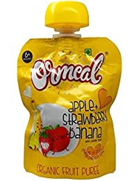 Ormeal 100% Organic Baby Food Puree Fruit for 6 Months + Baby, EU Certified, Only Apple + Strawberry + Banana Mix Fruit (Pack of 1)