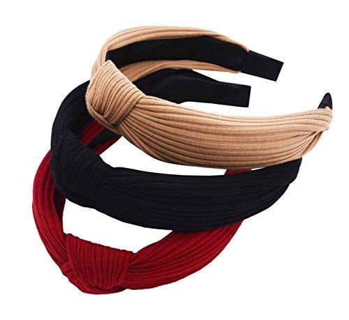 sthuahe 3St. Haar Reifen, Frauen und Mädchen handgefertigt breit Streifen Tuch Kreuz Knoten Haar Hoop Haarband Stirnband mit Kopfbedeckungen Haar Accessoires von Beauty Haar