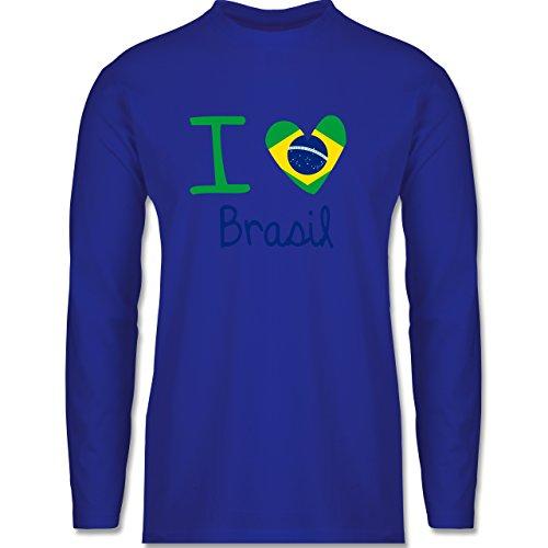 Shirtracer Länder - I Love Brasil - Herren Langarmshirt Royalblau