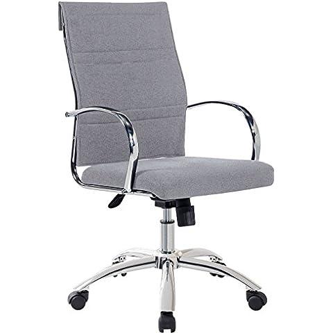 Sillón silla de oficina gris ceniza regulable y giratoria de tela con ruedas. 60x95 o 103cm