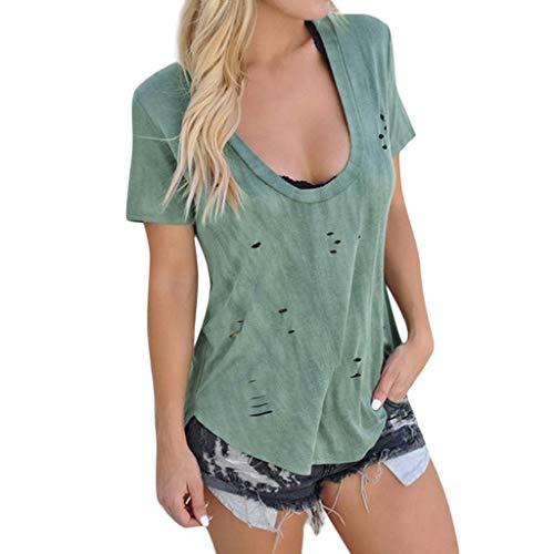 SHOBDW Damen Sommer Simplicity Solid Lässig U-Boot-Ausschnitt Kurzarm aushöhlen Tops Shirts Frauen Mode Sexy Hohl Lose Buse T Shirt