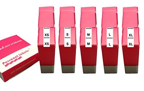 500 Etiquetas Satén tallas XS