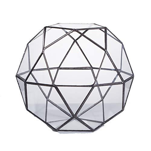 NCYP Artistic Modern Klar Glas Geometrische Terrarium dreieckig Pentagon Mix 32-sides Display des frischen Farn Moos Bonsai Blumentopf Mittelpunkt -