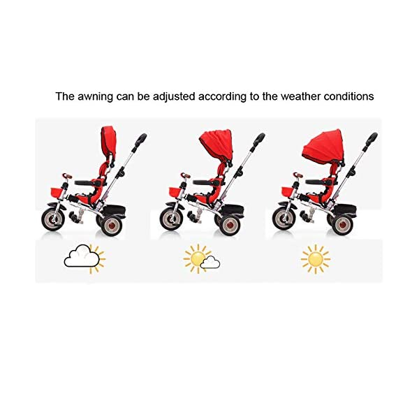 3 In 1 Tricycle 6 Months To 6 Years Folding Sun Canopy 3-Point Safety Belt Childrens Tricycles Blockable Rear Wheels Detachable And Adjustable Push Handle Folding Trike Maximum Weight 25 Kg,Red BGHKFF ★ 3-in-1 multi-function: convertible into stroller and tricycle. Remove the putter and awning as a tricycle. The best choice for 6 months to 6 years. ★ Tricycle foldable, space saving, easy to carry, is the best travel companion ★ Adjustable push rod, the push rod is directly connected to the tricycle handlebar through the steering link, and the parents can use the push rod to control the direction. 5