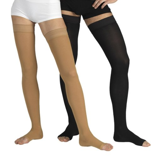23-32 mmHg MEDICAL COMPRESSION Stockings with OPEN Toe, FIRM Grade Class II, Thigh High Support Socks without Toecap (M (Body height 62.2-66.9 inch), Black)