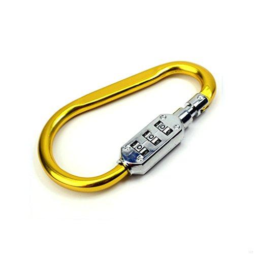 SLBGADIEME Aluminium Passwort-Sperre Karabiner D-Ring Leicht einfach zu bedienen bequem kompakt(Yellow)