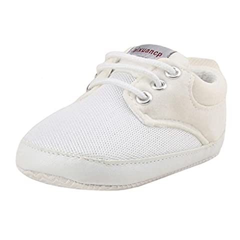 Boys Shoes, SHOBDW Toddler Girls Boys Casual Lace up Crib Prewalker Soft Sole Sneakers Shoes (0-6 Months,
