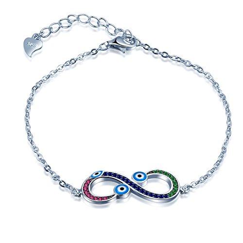 SIXLUO 925 Sterling Silber Zirkonia Charm Armband Unendlichkeit Zeichen mit Teufel Augen Armkettchen Verstellbare Armkette Mädchen Armschmuck