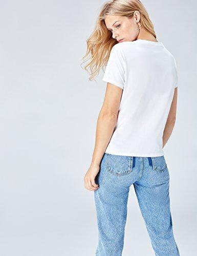 FIND Damen T-Shirt mit Perlendetails mit Perlendetails Weiß